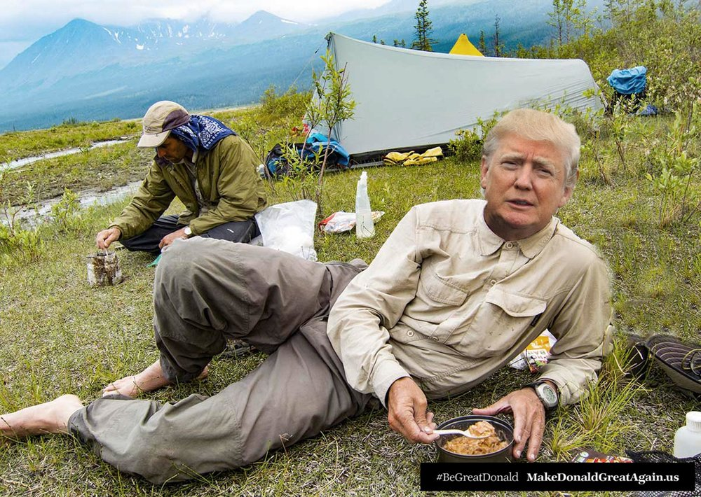 Sometimes Donald likes to get away from it all with his good friend Mike. No Twitter, no ties, just canned beans and fresh air. Looking trim, feeling grateful.