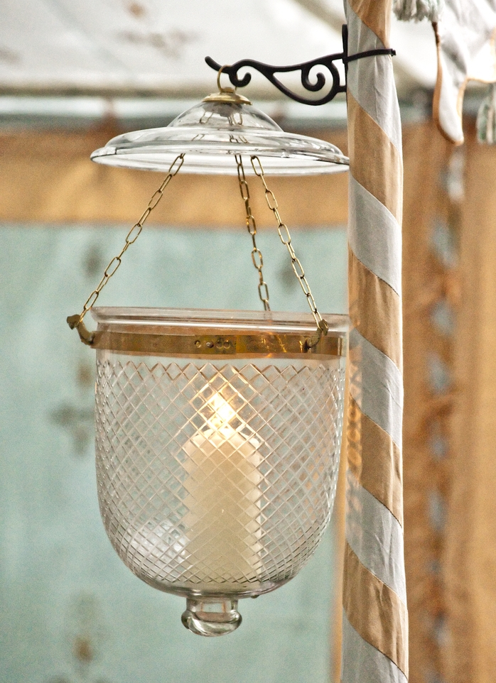 "Diamond etched bucket lantern, not fitted for electricity.  Approximately 18"" high; 10"" diameter"