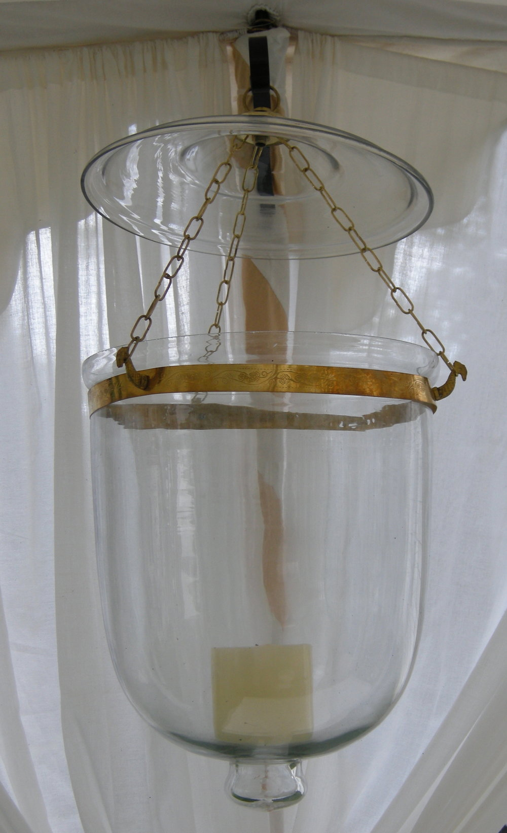 "Clear bucket lantern, not fitted for electricity.  Approximately 18"" high; 10"" diameter"