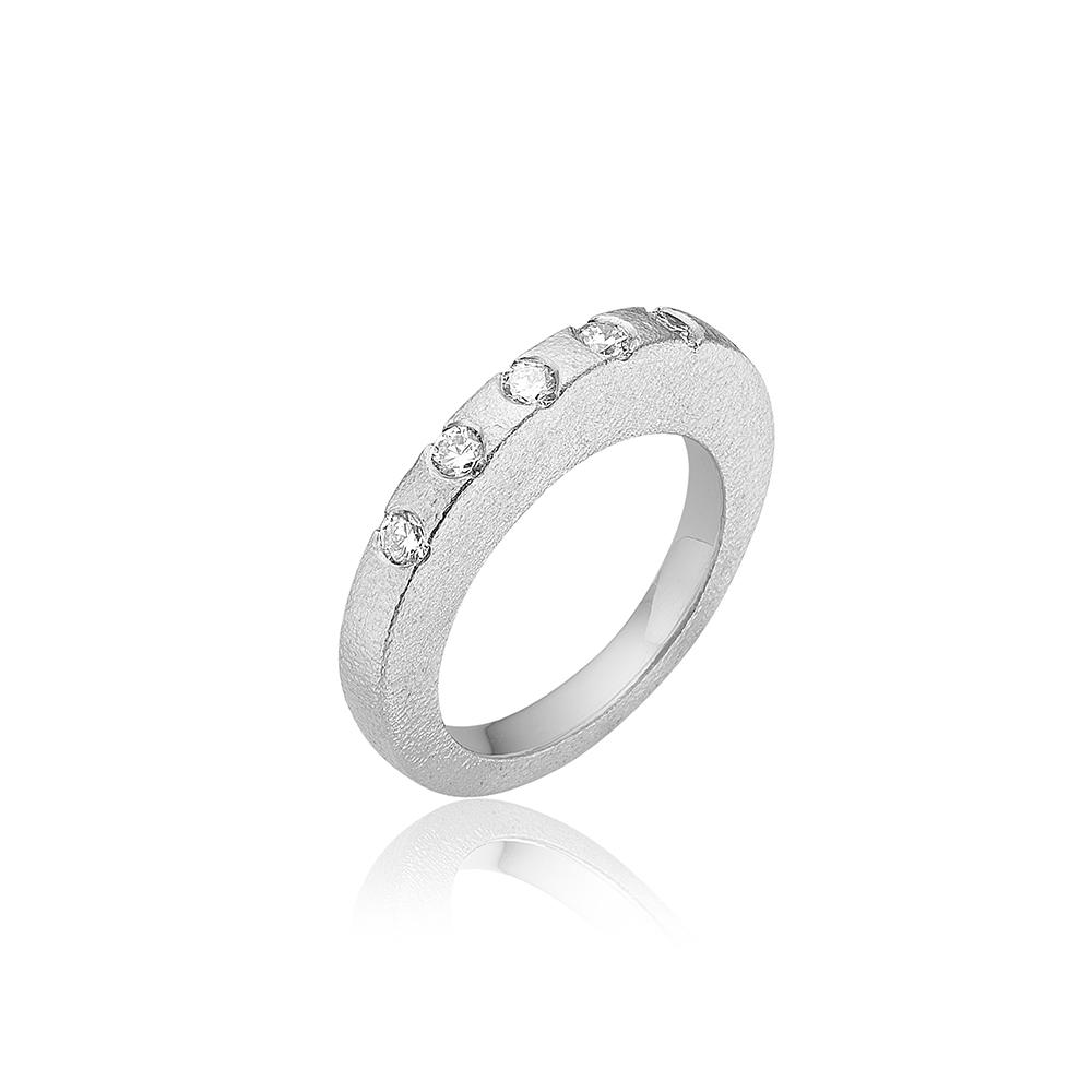 Skive ring med 5 stk 0.10ct diamanter