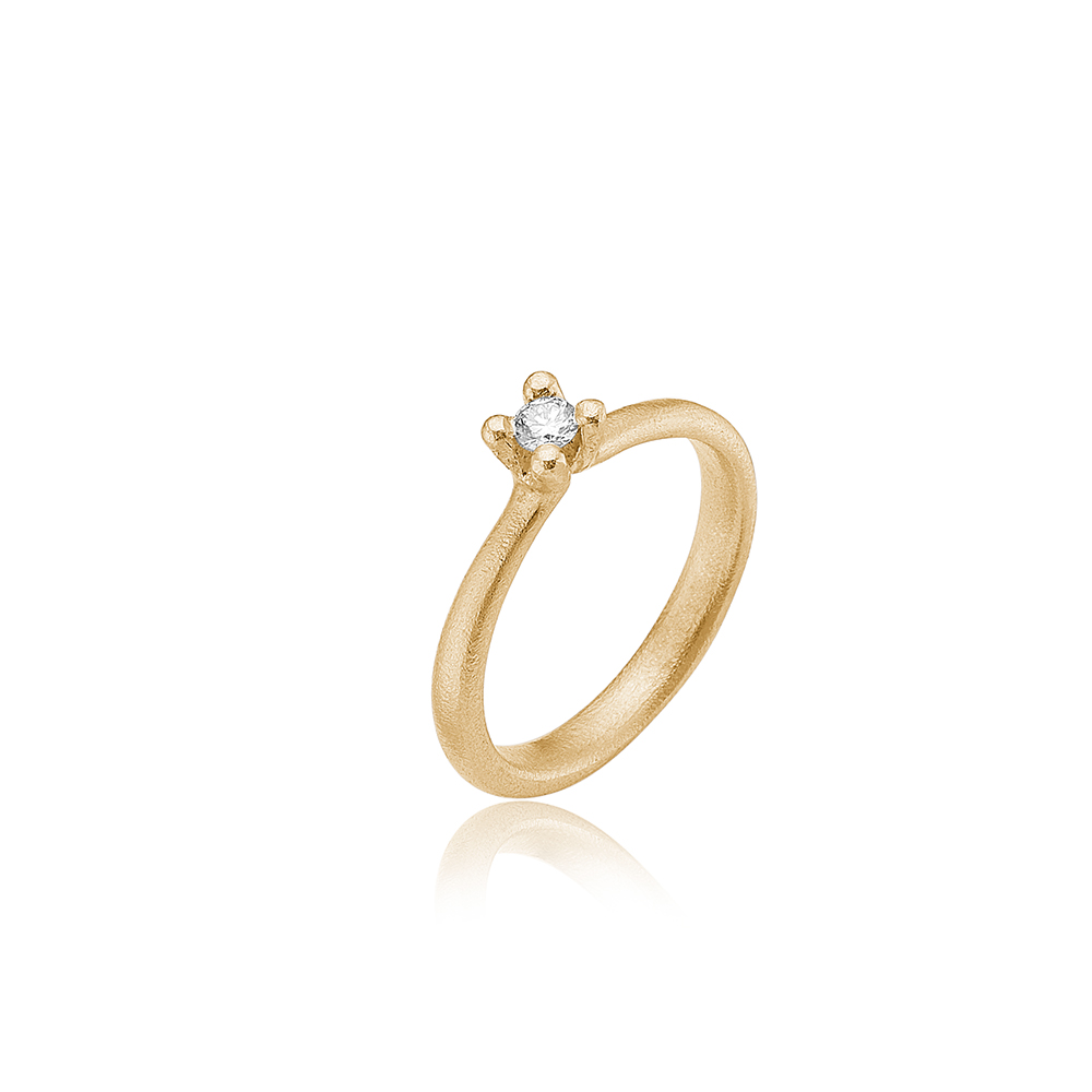 Solitair ring med diamant.