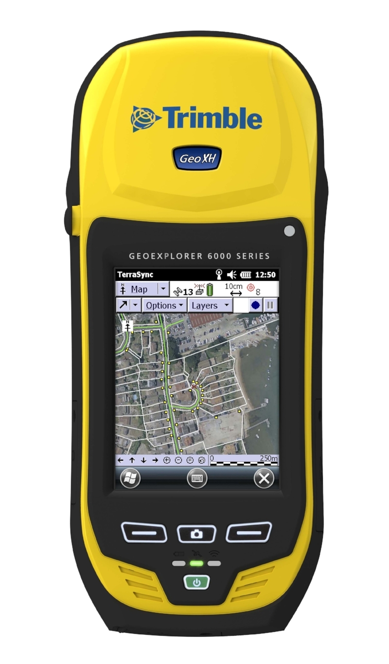The  Trimble Geo Series  is a rugged, high accuracy hand held that is standard in the construction and environmental consulting industry. The 7x units come equipped with a rangefinder and camera.
