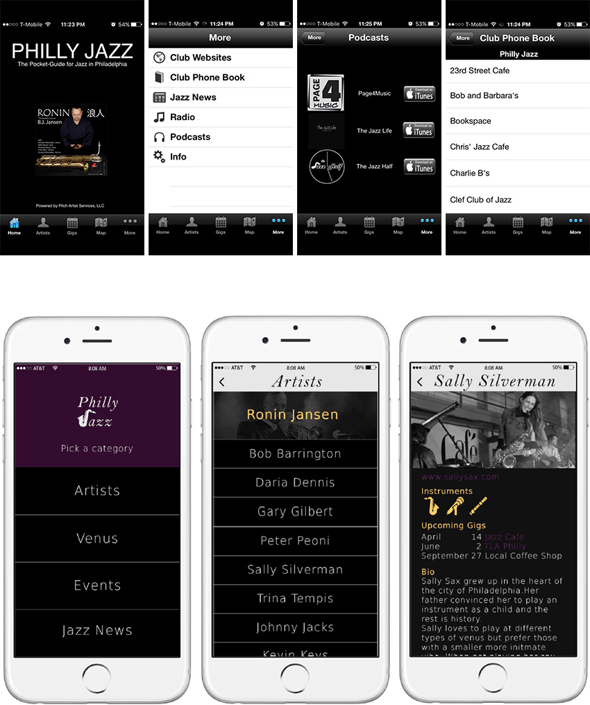 Current Jazz app and proposed redesign