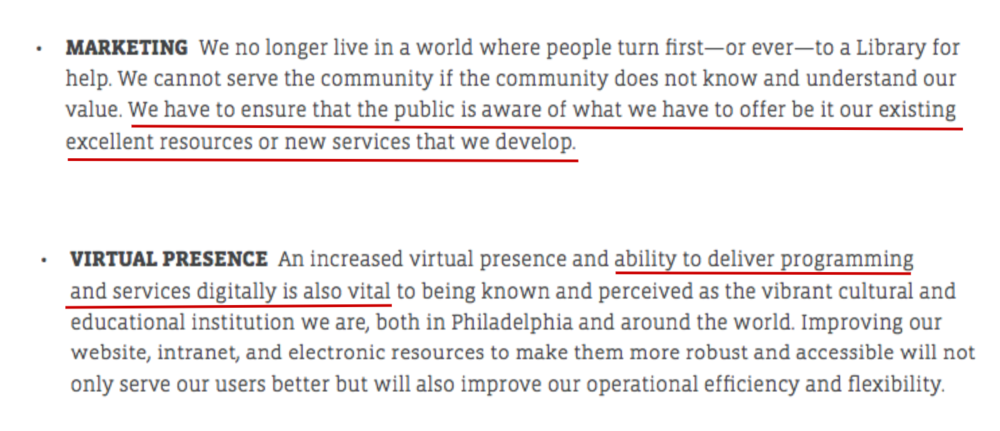 Snippet from Free Library of Philadelphia Strategy  https://libwww.freelibrary.org/assets/pdf/about/flp-strategicplan.pdf