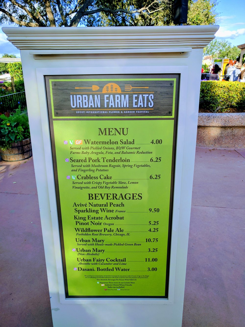 Location's menu and price list