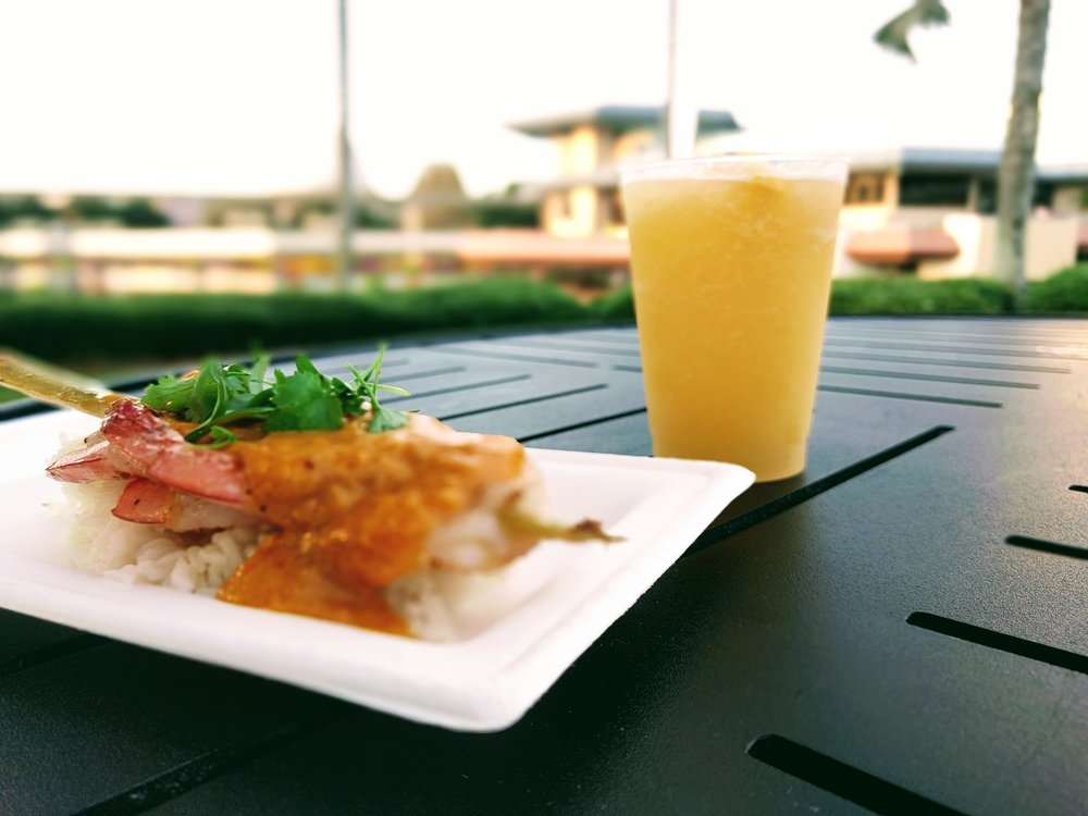 Sugar Cane Shrimp Skewer and Frozen Simple Tropical Juice Drink (non-alcholic)