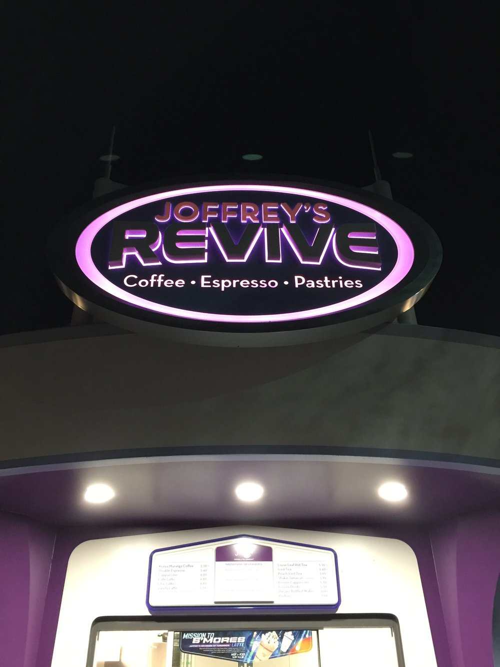 Joffrey's Revive is located in Tomorrowland near the dance party stage.