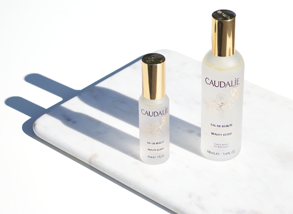 An addictive and refreshing mist. Re-fresh yourself or re-fresh your make -up throughout the day. Travel size is an in flight savior.  Caudalie  Beauty Elixir
