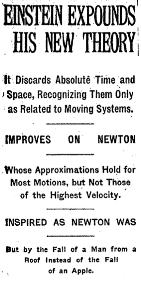 Headline in New York Times, Dec. 3, 1919.