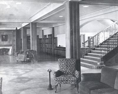 Original lobby to Powers Hall. Photo: Clarke Historical Library
