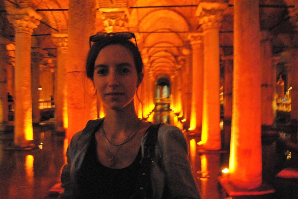 Chiara visiting the Yerebatan Sarnıcı in Istanbul. The cistern was built in the 6th century under Justinian I. The cistern was also one of the locations of the 1963 James Bond movie From Russia with Love.