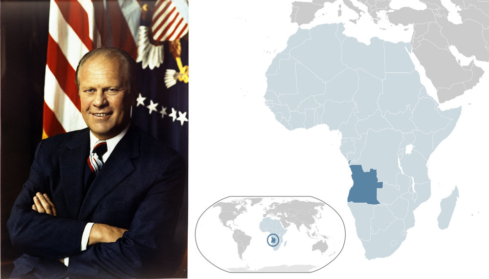 Left: First official portrait of President Gerald R. Ford. Courtesy Gerald R. Ford Library - Right: location of angola in africa.