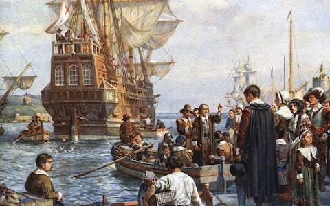 "The Pilgrim Fathers boarding the Mayflower"" (Painting circa 1754) Credit: Universal History Archive/Getty Images"