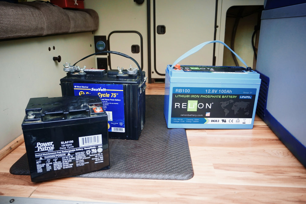 We get almost double the power out of the Lithium battery on the right than we did out of the two deep cycle batteries on the left!