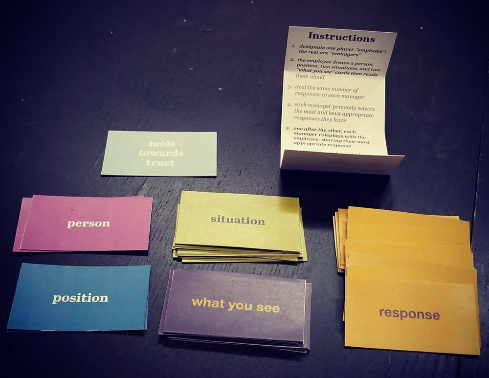 "One player is the ""employee"" who is given a  person  card, a  position  card, and a few  situation  cards to read aloud. The other players—""managers""—then choose from their  response  cards the best and worst option for this employee. After they each read their option aloud, the ""employee"" choose their preferred response and explains why. (view  instructions  and  cards )"