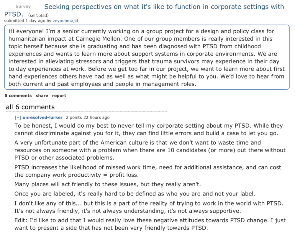 We posted in a PTSD subreddit and received very candid responses.