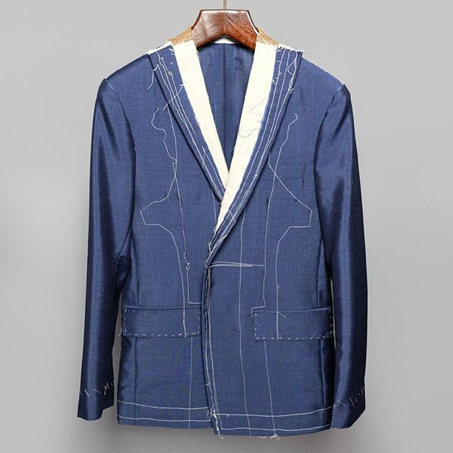 Blue kid mohair canvas try on, constructed by hand and ready for fitting. . . . #customclothing #tailoring #jacket #suit #canvas #fitting #newyork