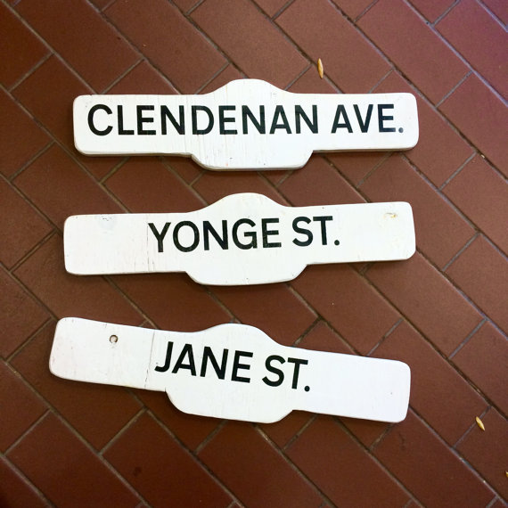 $20 ea Hand painted salvaged wood street signs, we can customize them to say whatever you'd like. Fit a max of 16 characters. More Pics: [x]