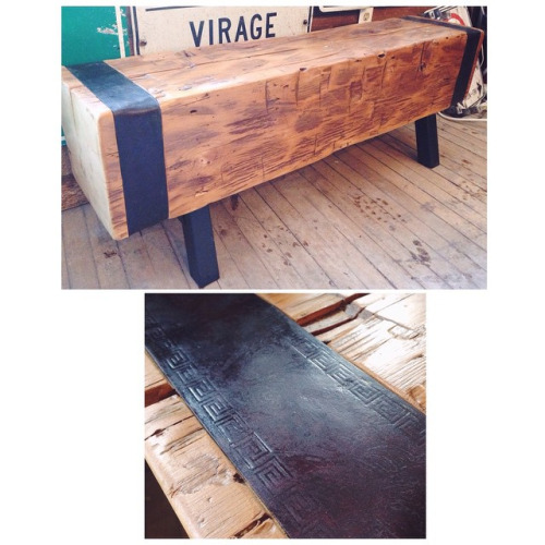 $ Inquire Close to 400 year old beam from a barn in Toronto. We decided to turn it into this lovely bench, And added two pieces of handcrafted / stamped leather straps as an accent to it.