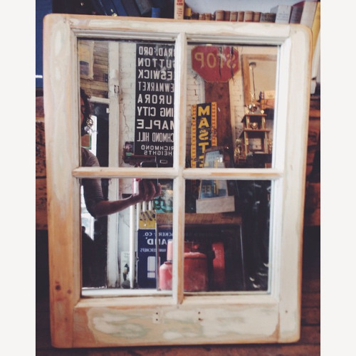 $ starts at 80 Salvaged window frame turned into a mirror. We can do different sizes. Ready to hang.