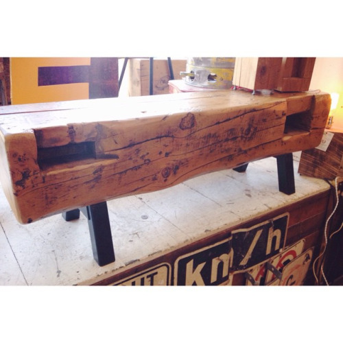 $ Inquire Salvaged from the same place as the bench above, this solid little beam bench would look great anywhere. Incredibly sturdy and surprisingly comfortable. More Pics: [x]