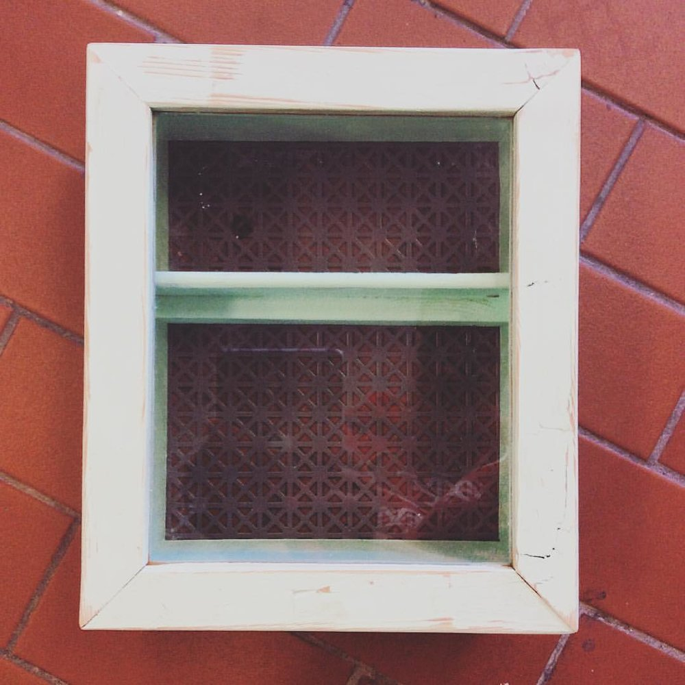 $75 ea A small mountable wall cabinet. This one is mint green but we can make them in any colour! Has a glass pane window and opens and closes. An adorable way to store and display curios. More pics: [x]