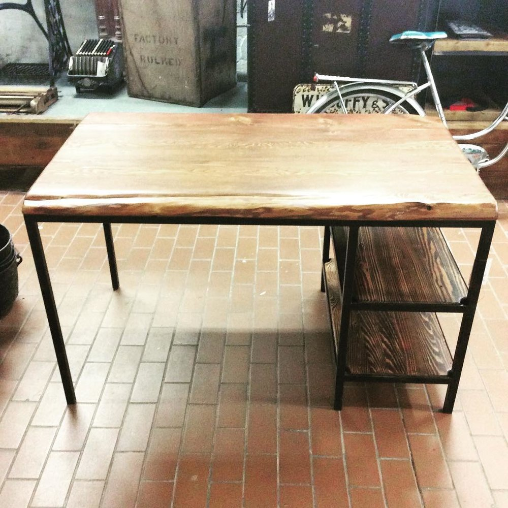 $ 450 Reclaimed wood desk with two smaller levels. Made of reclaimed and hand welded metals with a nice raw edge top. Sold.