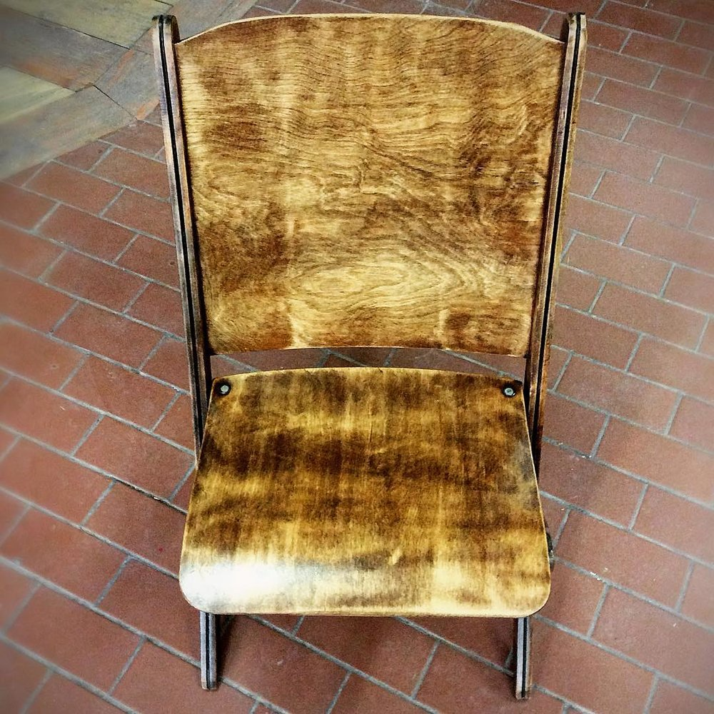 $150 ea Finished church chair singles. We have a few of these, they were sanded down and stained to show the beautiful wood grain that was hiding underneath the old paint. Each chair is much different looking and unique. More pics: [x]