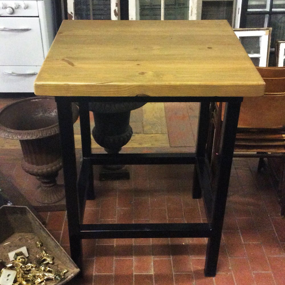 $750 Condo table! Pair with stools to create a neat little dining set that saves space and looks great. Made of reclaimed wood and metal legs.