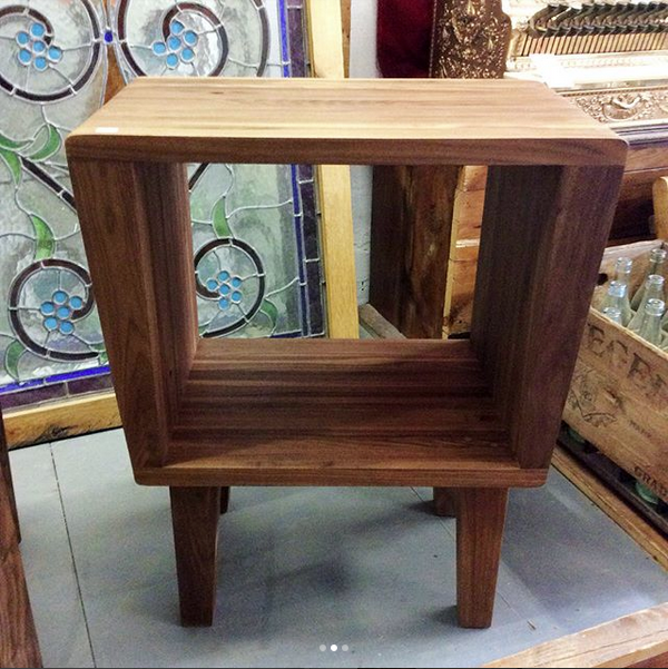 $450 Reclaimed walnut mid century modern side table. It fits records nicely. Measures 16'' L x 13.5'' W x 26.5'' H