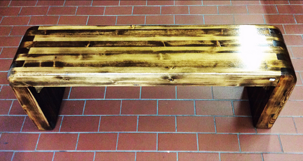 $500 Beautiful reclaimed wood bench with shiny finish. Super smooth and sturdy with beautiful wood grains.