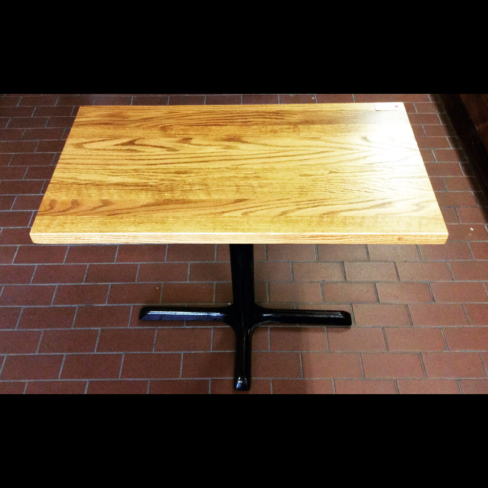 $500 Reclaimed ash wood top 4-person kitchen table with cast iron diner style base. 38 1/4'' x 20 5/8'' x 29 1/2''