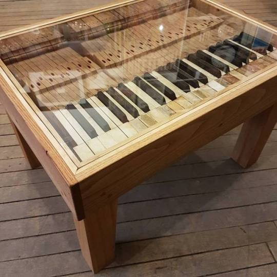 "$ 650   Piano key coffee table made from over 100 year old piano parts. Glass top with white oak and poplar base.  26"" x 19.5"" x 16.5"""