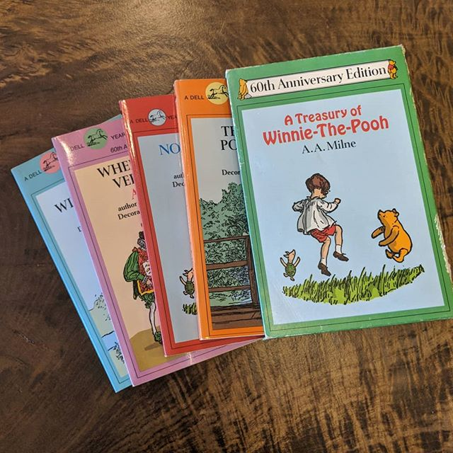 Another childhood classic! Relive your favourite moments with everyone's favourite chubby, little cubby all stuffed with fluff and the rest of the gang from the Hundred Acre Wood with this box set of Winnie The Pooh classics. #vintage #childrensbooks #winniethepooh #sillyoldbear #junctionto