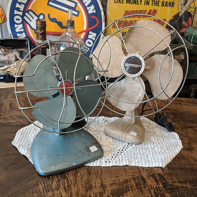 """It might not be """"officially"""" summer yet, but it sure feels like it! Come grab a vintage fan and stay cool, friends. #vintage #fans #junctionTO #staycool"""