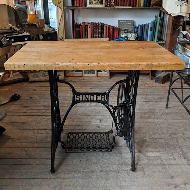 """New in store:  Maple top with antique sewing machine table base. Measures 34.5""""W x 21""""D x 30""""H #antique #reclaimed #maple #junctionto"""