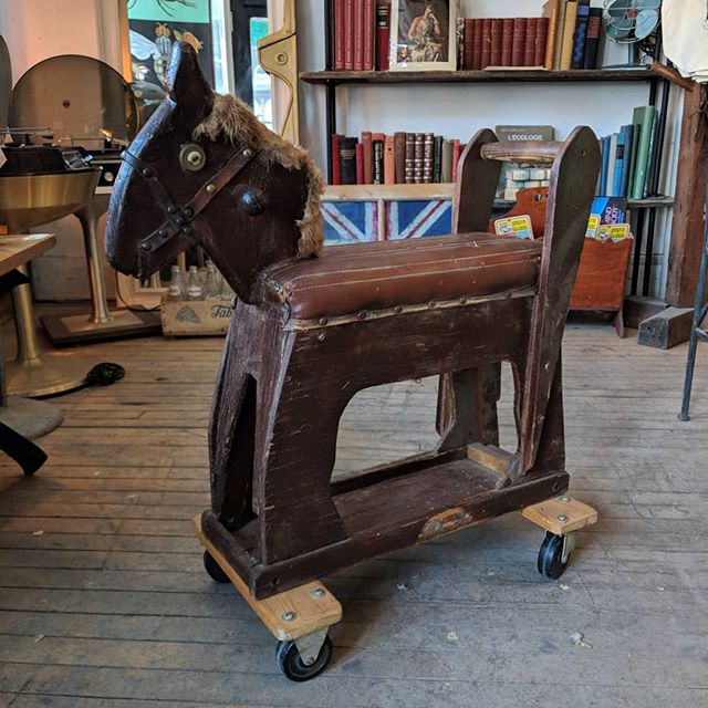 The hobby horse of your childhood dreams (or nightmares)... Complete with wheels and fluffy tail! #vintage #vintagehobbyhorse #hobbyhorse #woodentoys #junctioto