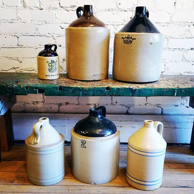 Beautiful collection of stoneware jugs. If this heat has you feeling thirsty, they're just what you need! . . . #junctionstores #junctionto #antiques #salvage #design #interiordesign #vintage #decor #nostalgia #stoneware #stonewarejugs #stonewarepottery