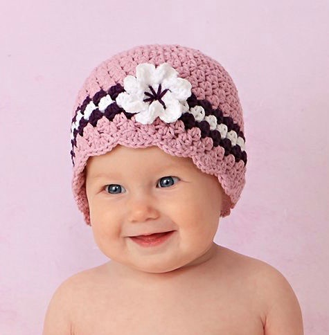 Baby Girl Knit Hat With Flower Pattern