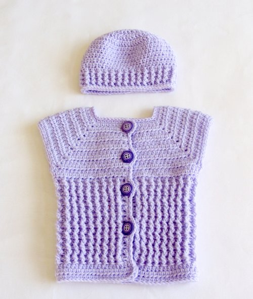 Baby Girl Sweater Vest Hat Set Crochet Pattern 50 Lisa Corinne