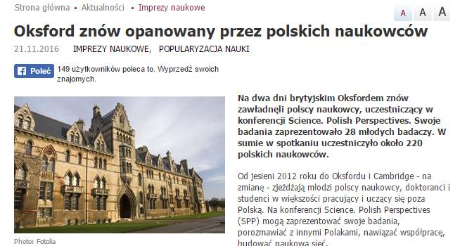 Oksford znów opanowany przez polskich naukowców - naukawpolsce.pap.pl