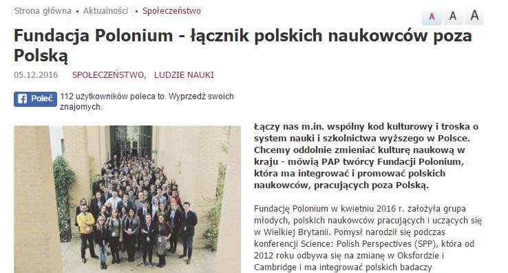Fundacja Polonium - łącznik polskich naukowców poza Polską - naukawpolsce.pap.pl
