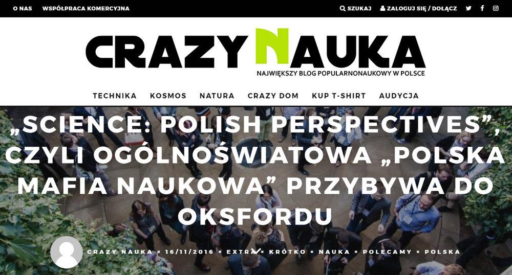 """,,Science: Polish Perspectives'', czyli ogólnoświatowa ,,polska mafia naukowa"""" przybywa do Oksfordu - crazynauka.pl"""