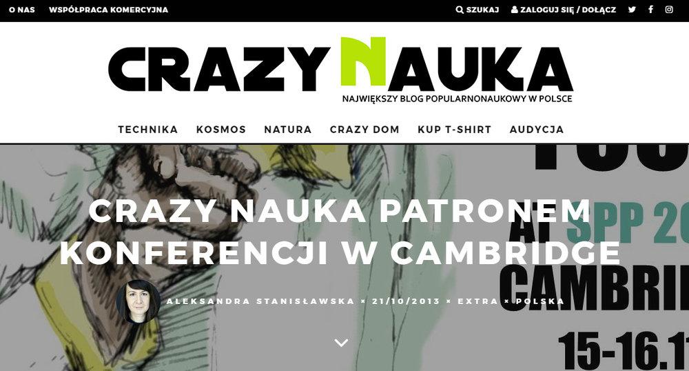 Crazy Nauka patronem konferencji w Cambridge - crazynauka.pl/