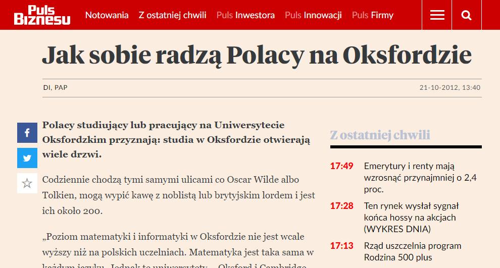 Jak sobie radzą Polacy na Oksfordzie - pb.pl