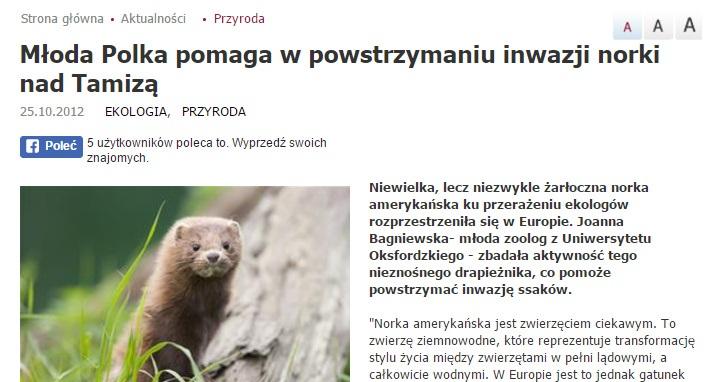 Młoda Polka pomaga w powstrzymaniu inwazji norki nad Tamizą - naukawpolsce.pap.pl