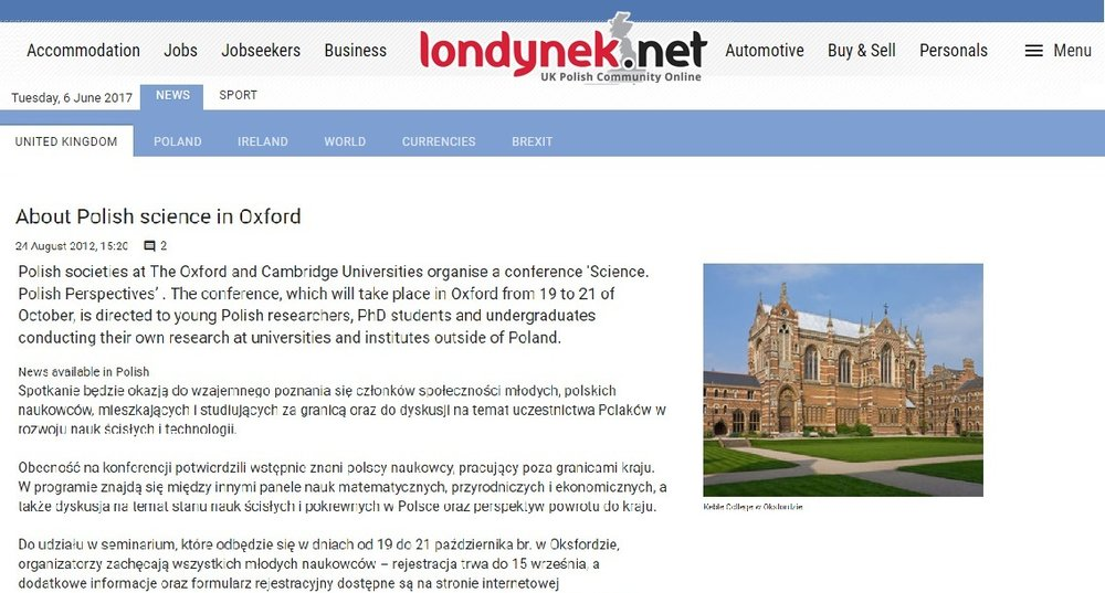 About Polish science in Oxford - londynek.net