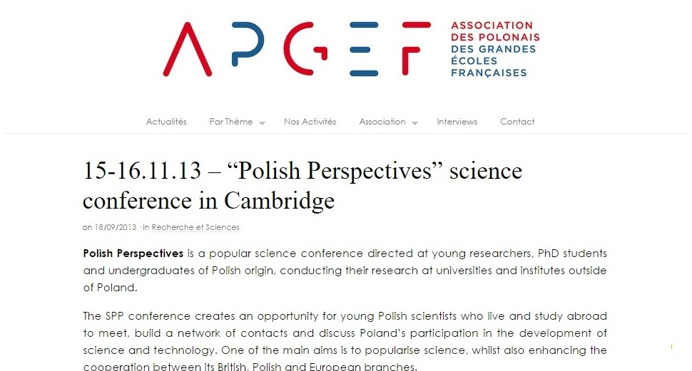 "15-16.11.13 – ""Polish Perspectives"" science conference in Cambridge - apgef.com"
