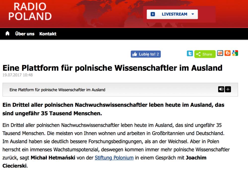 Eine Plattform für polnische Wissenschaftler im Ausland [DE] - auslandsdienst.pl (Polskie Radio)