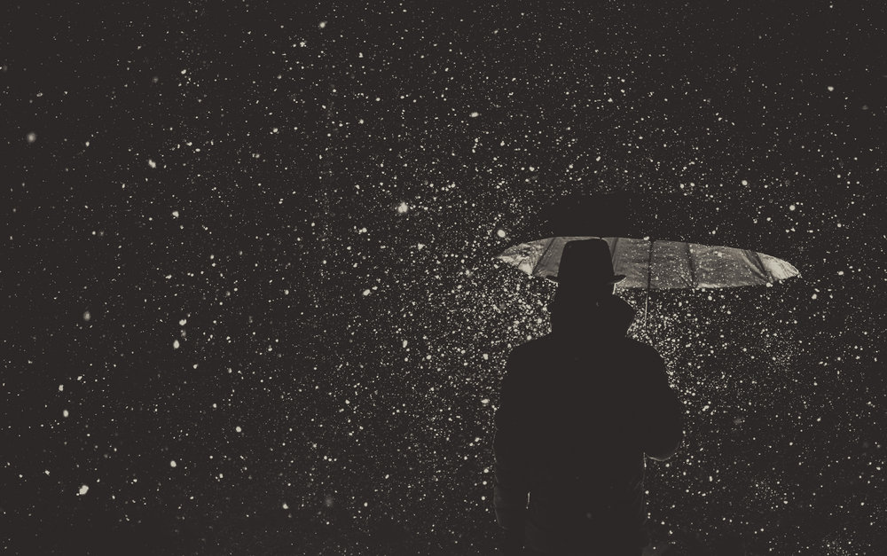 Photographer:  Samio Rox   Country:  USA  Title:  A lonely man with umbrella in the snowy weather